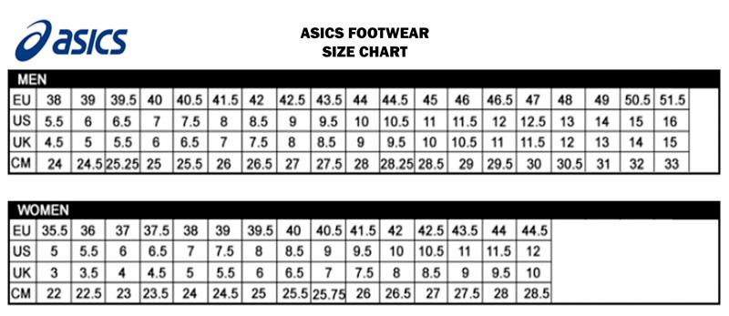 asics running shoes size chart