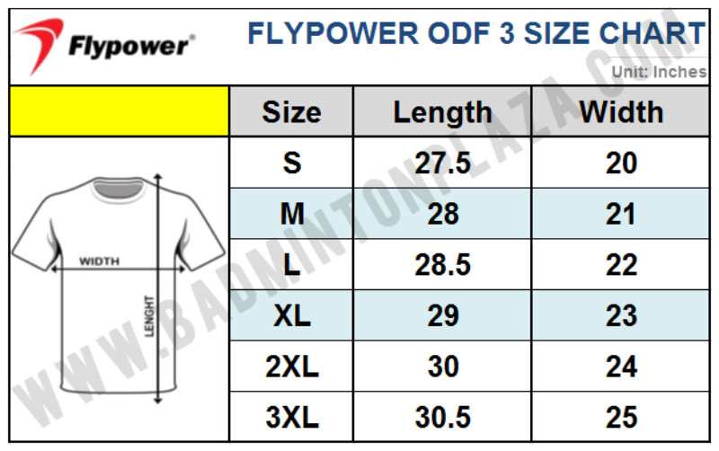FLYPOWER SIZE CHART