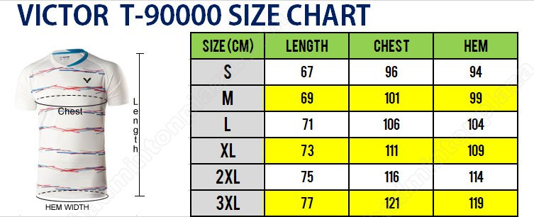VICTORT 90000TD SIZE CHART