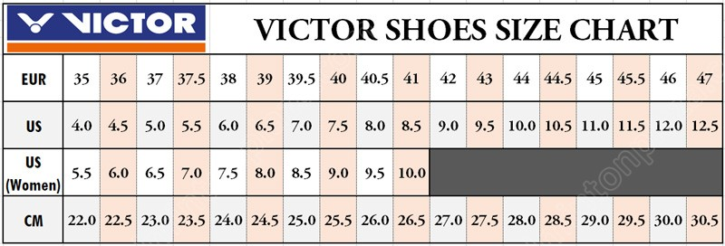 VICTOR SHOES SIZE CHART